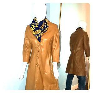 Jackets & Blazers - Honey brown long leather vintage jacket